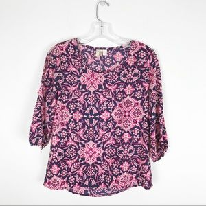 Anthropologie Cold Shoulder Blouse Small Floral